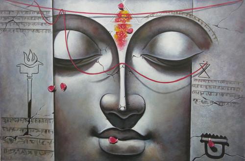 Lord Krishna 02 - 36in X 24in,RAJVEN17_3624,Acrylic Colors,Krishna,Bal Gopala,Shyam ,Murlidhar - Buy Paintings online in India