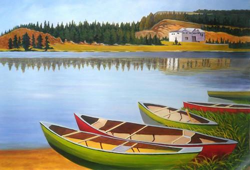 Landscape,Nature,Greenery,Boat Land,Water Bank