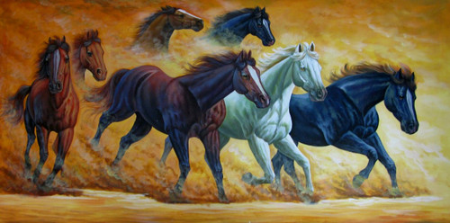 7 Good Luck Horses Rajmer06 - 48in X 24in,RAJVEN28_4824,Acrylic Colors,Horses,Graces,Race,Achiever,Racing - Buy Paintings online in India