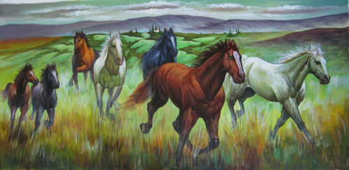 7 Good Luck Horses Rajmer07 - 48in X 24in,RAJVEN29_4824,Acrylic Colors,Horses,Graces,Race,Achiever,Racing - Buy Paintings online in India