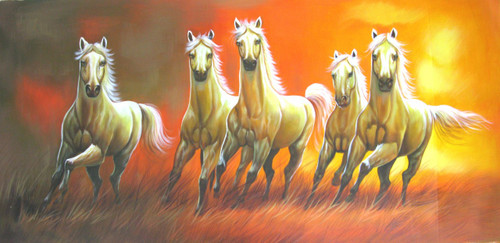5 Good Luck Horses Rajmer01 - 48in X 24in,RAJVEN30_4824,Acrylic Colors,Horses,Graces,Race,Achiever,Racing - Buy Paintings online in India