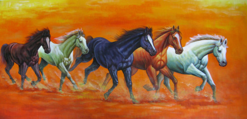 5 Good Luck Horses Rajmer03 - 48in X 24in,RAJVEN32_4824,Acrylic Colors,Horses,Graces,Race,Achiever,Racing - Buy Paintings online in India