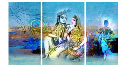 krishna, radha, radha krishna, multi piece, peocock feather, krishna with flute