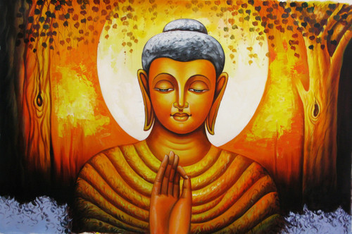 Mahanirvana 14 - 36in X 24in,RAJVEN36_3624,Acrylic Colors,Peace,Buddha,Shanti,Meditation,Buddhism - Buy Paintings online in India