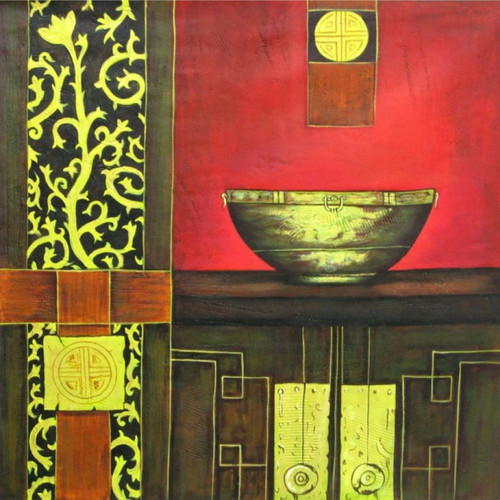 Equanimity - 24in X 24in,RAJEAR01_2424,Acrylic Colors,Beautiful Pot,Stand Life - Buy Paintings online in India