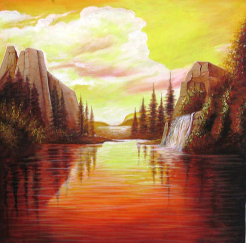 Inner Flame - 24in X 24in,RAJEAR06_2424,Acrylic Colors,Beauty Of Sunset - Buy Paintings online in India