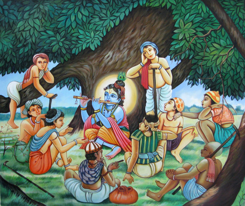 Little Krishna with Friends - 36in X 30in,RAJEAR15_3630,Acrylic Colors,Krishna playing flute,Playing with friends - Buy Paintings online in India