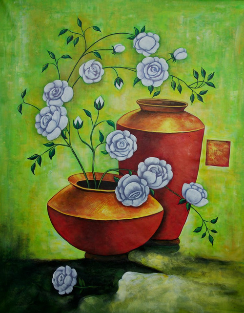 Ensemble 3 - 24in X 36in,RAJEAR18_2436,Acrylic Colors,Pottery,Vase,Beautiful Flower in Vase  - Buy Paintings online in India