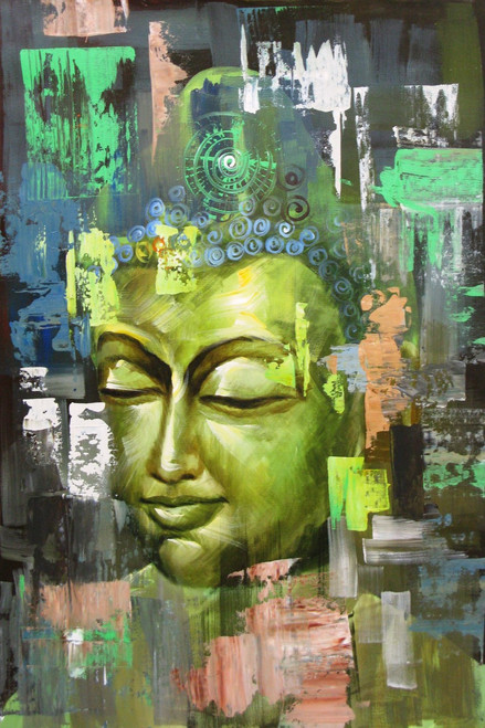 Caga - The Liberality - 24in X 36in,RAJEAR26_3624,Acrylic Colors,BUddha,Peace,Meditation,Buddhism  - Buy Paintings online in India