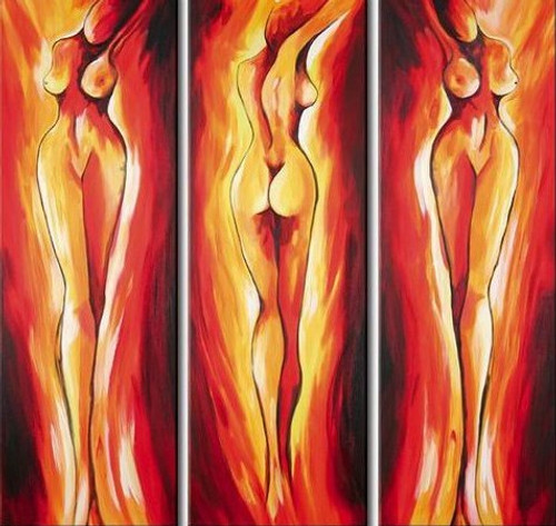 Society - 36in x 36in (12in X 36in each X 3pcs),RTCSD_01_3636,Passion,Nude,Impress,Multi piece,Museum Quality - 100% Handpainted Buy Painting Online in India.