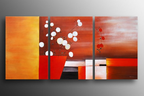 Fresh Art - 48in x 24in (16in X 24in each X 3pcs),RTCSD_05_4824,Multipiece,Museum Quality,Abstract,Fresh,Morning - 100% Handpainted Buy Painting Online in India.