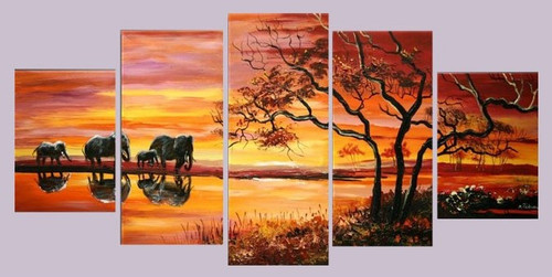At Sunrise - 60in x 36in (Details Inside),60in x 40in (12in X 20in each X 2pcs)+(12in X 30in each X 2pcs)+(12in X 40in X 1pc),RTCSD_13_6040,Multipiece,Museum Quality,Abstract,Fresh - 100% Handpainted Buy Painting Online in India.