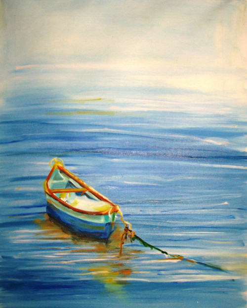 Boat Abstract - 18in x 24in,FIZCLR19_1824,Boat At Coast,Community Artist Group,Museum Quality - 100% Handpainted