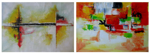 Color Abstract - 72in x 24in (36in X 24in each X 2Pcs),RTCSD_42_7224,Multipiece,Abstract Painting - 100% Handpainted Buy Painting Online in India