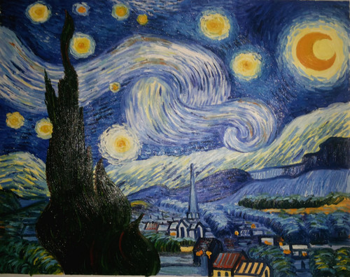 The Starry Night Replica - 36in x 28in,FIZCLR20_3628,Van Gogh Painting Replica,Community Artist Group,Museum Quality - 100% Handpainted