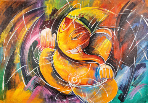 Abstract Orange Ganesha - Handpainted Art Painting - 36in X 24in
