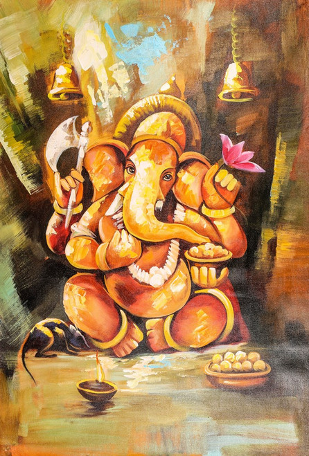 Temple Ganesha - Handpainted Art Painting - 24in X 36in