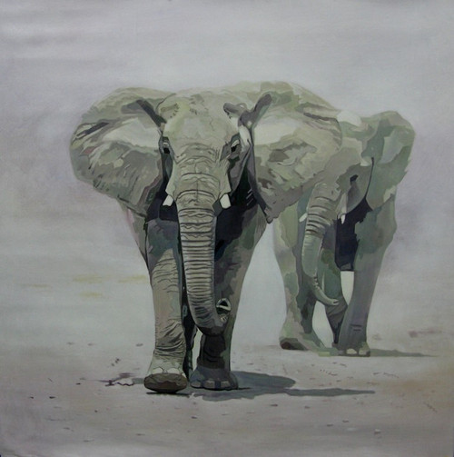 56Anm04 - 32in x 32in,56Anm04_3232,Community Artist Group,Museum Quality,Elephant,Herd,- 100% Handpainted