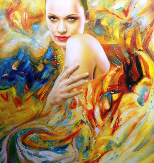 56Figure82 - 32in x 32in,56Figure82_3232,Community Artist Group,Museum Quality,Lady,Women,Alone,Think,Beauty - 100% Handpainted