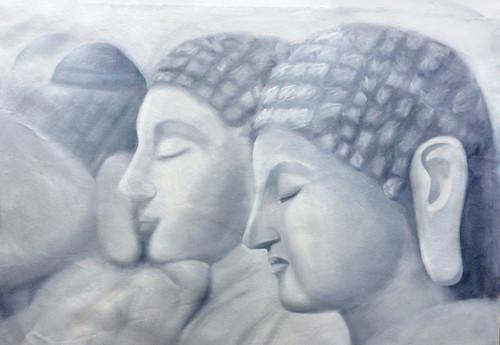 56Buddha31 - 36in x 24in,56Buddha31_3624,Community Artist Group,Museum Quality,Buddha,Blessings - 100% Handpainted