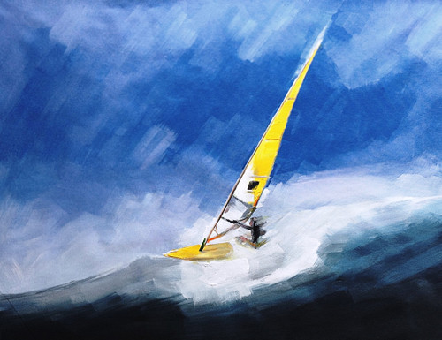 56Sports15 - 32in x 24in,56Sports15_3224,Community Artist Group,Museum Quality,Blue Seascape, - 100% Handpainted