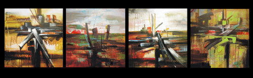56GRP78 - 64in x 16in (16in X 16in each X 4Pcs),56GRP78_6416,Multipiece,Abstract Painting,Multipiece - 100% Handpainted Buy Painting Online in India