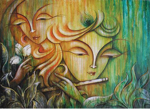 Buy ABSTRACT RADHA KRISHNA RK-25 Handmade Painting By