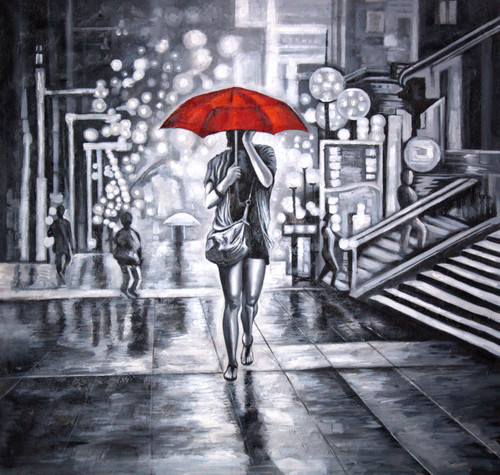 Buy Red Umbrella With Lady Handmade Painting By Ram Achal