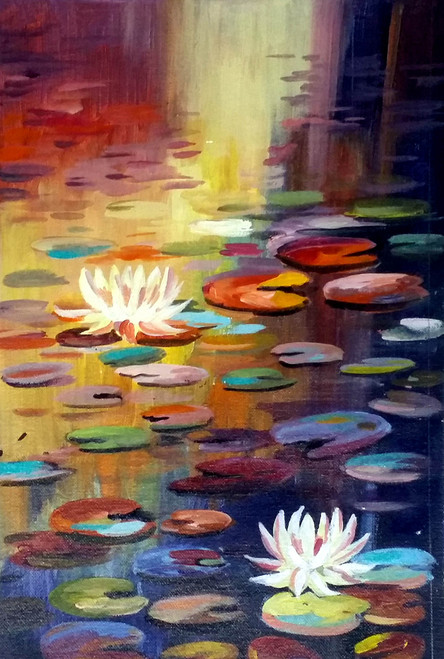 Buy Lotus And Pond Handmade Painting By Samiran Sarkar