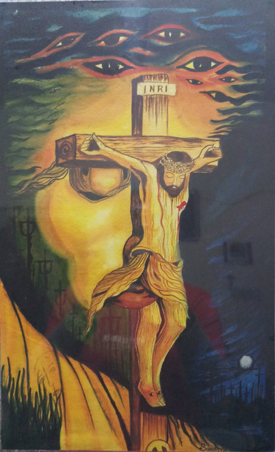 Buy Jesus on Cross with Face Handmade Painting by Charlie ... Jesus On The Cross Painting