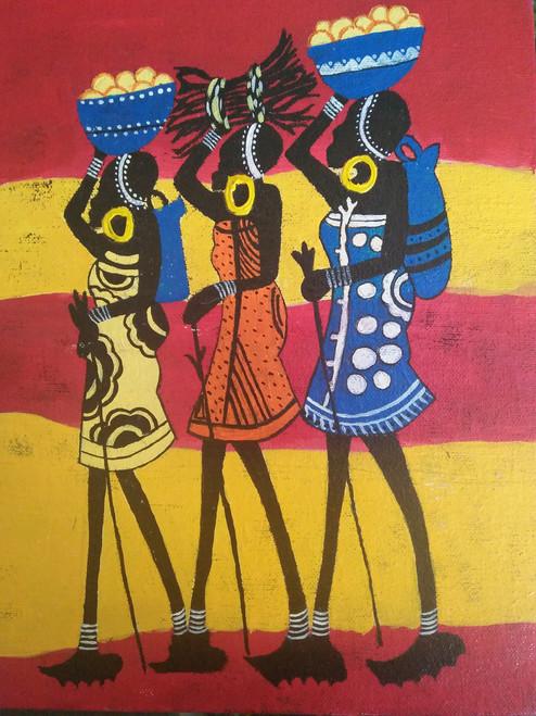 Buy African Ladies Handmade Painting By Asha Rao Code