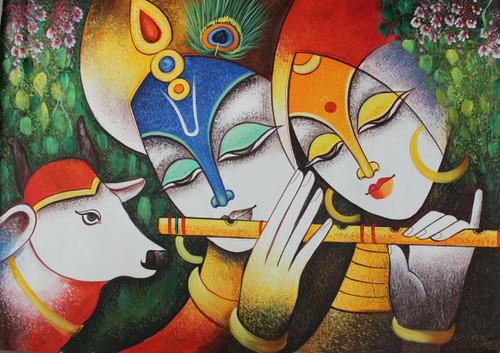 Buy The Divine Radha Krishna-1 Handmade Painting by ARTOHOLIC ...