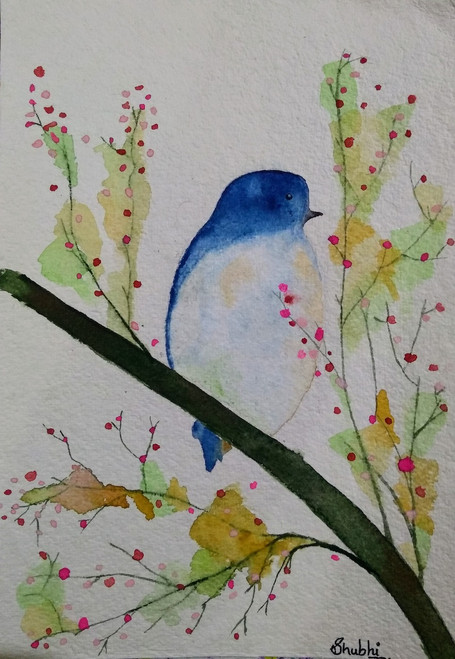 Buy Blue Bird Handmade Painting by SHUBHI KADAM  Code