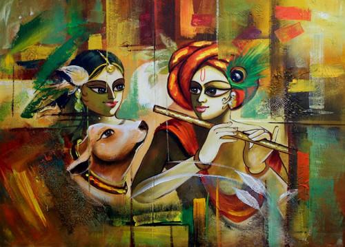 Radhe Gopal - Handpainted Art Painting - 34in X 24in