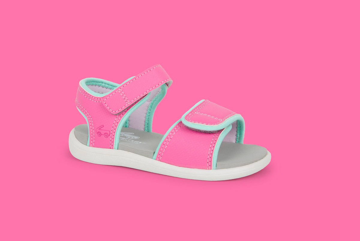 Right Side view of the Logan Hot Pink sandal