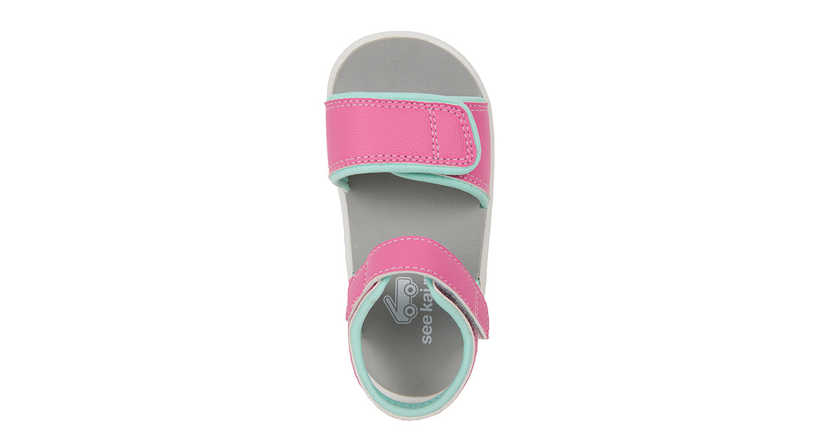 Top Down view of the Logan Hot Pink sandal