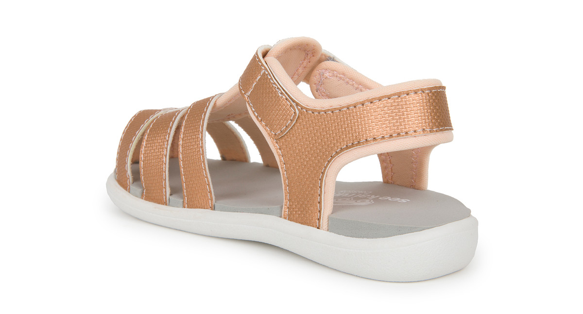 Back Left Side view of the Posey Rose Gold sandal