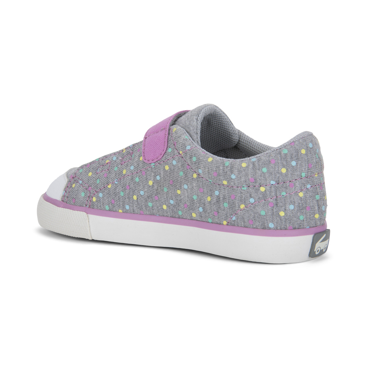 Back Left Side view of the Monterey Rainbow Dots shoe