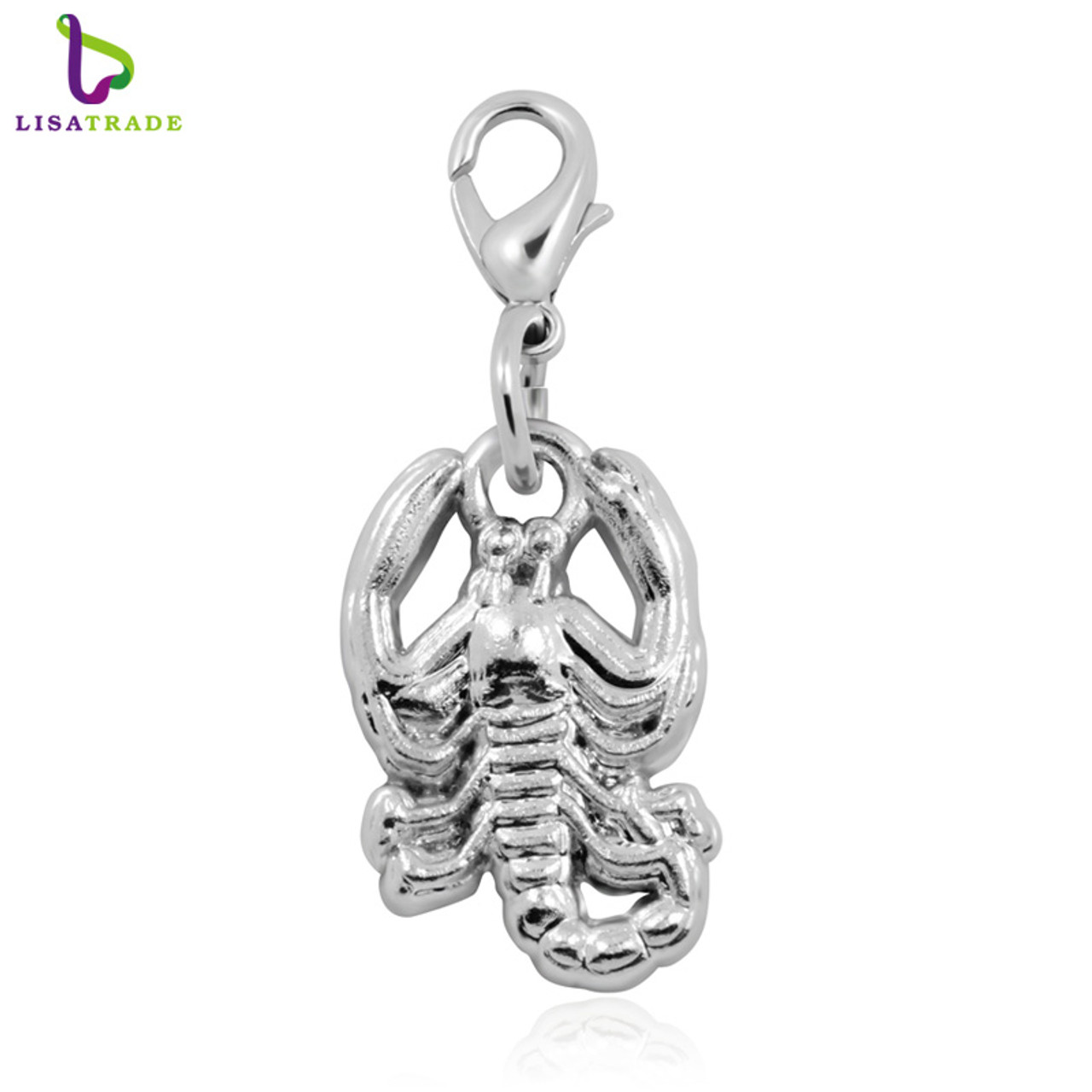 Wholesale Stainless Steel Silver Shrimp Charms DIY Pendents for Jewelry Making