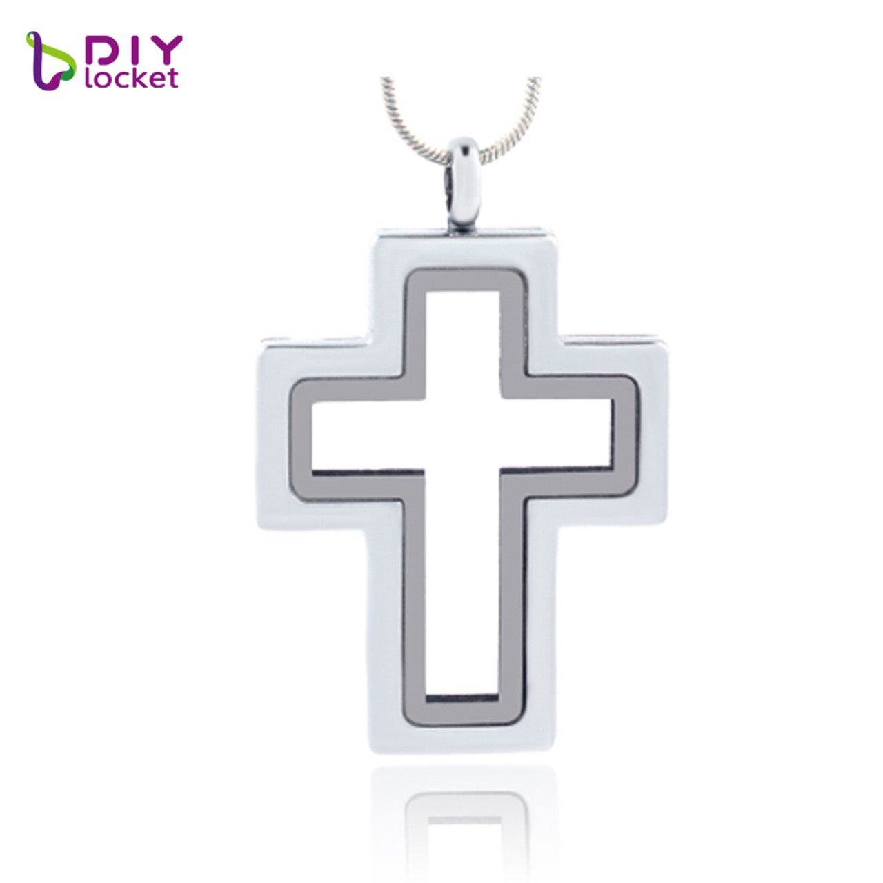 Fashion Jewelry Jewelry & Watches One Plain Cross Glass Locket with Chain Necklace with 10pcs Floating Charms
