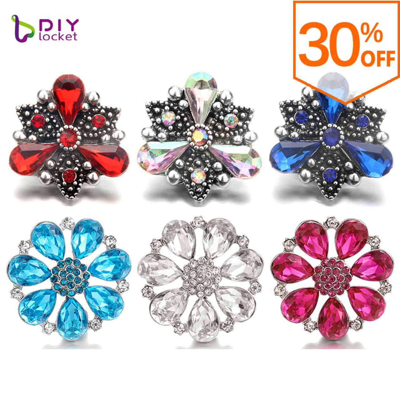 Snap Jewelry 18mm Red Flower Gem Snap