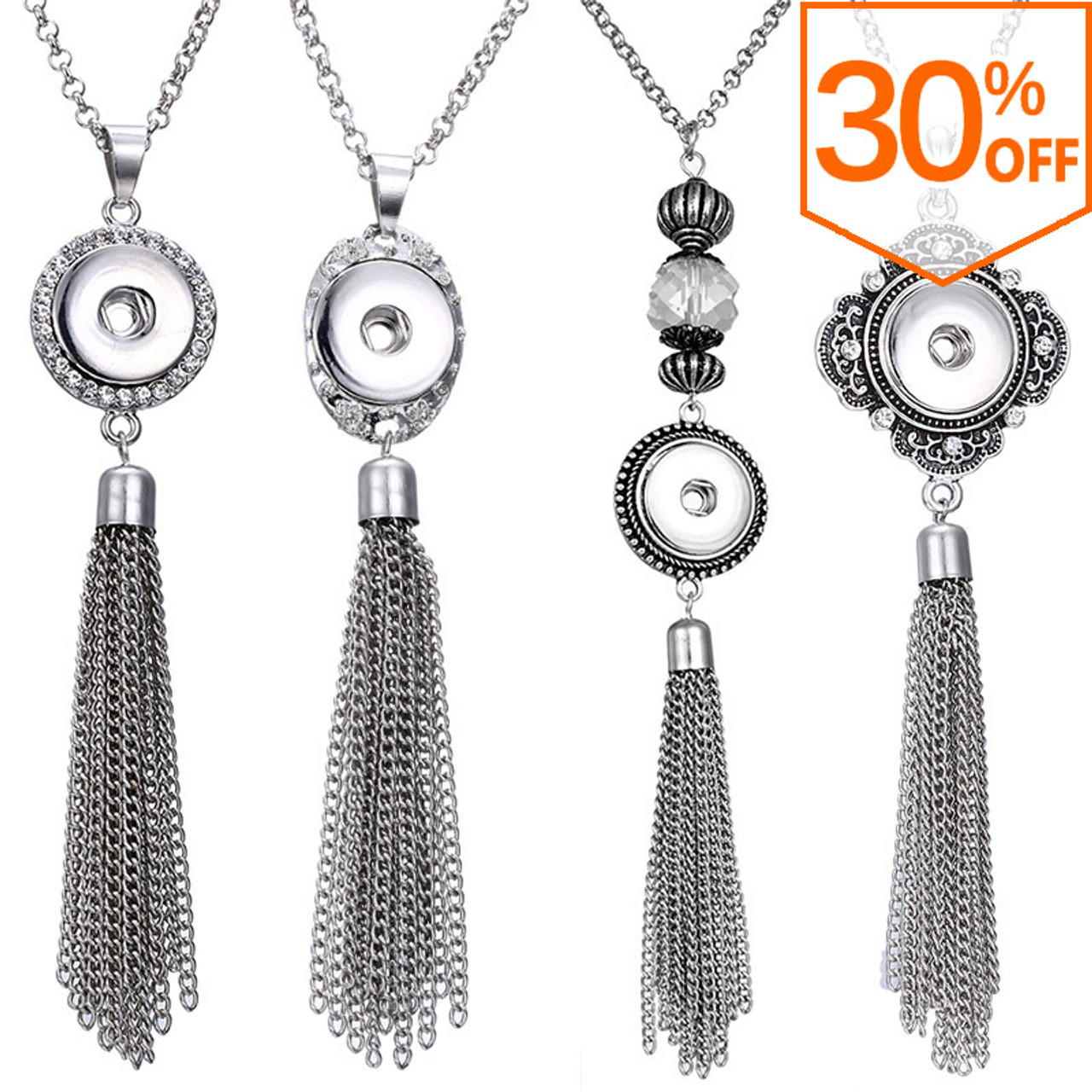 Crystal Vintage Metal Tassel Necklace for Snap Button Jewelry Charms