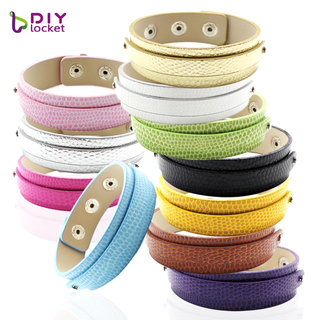 8mm DIY Genuine Leather Wristband Bracelet Fit 8mm Slide Charms //Slide Letters