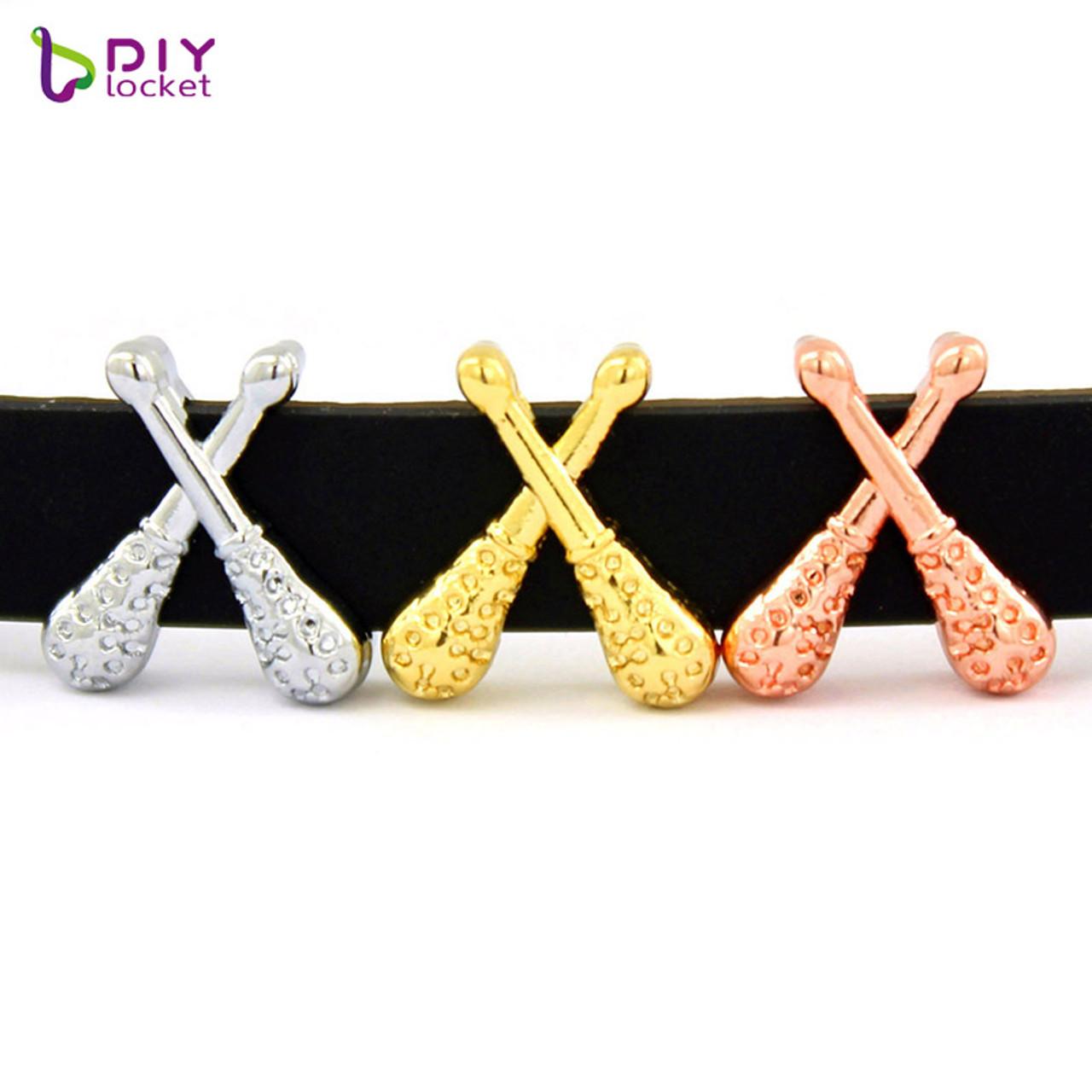 10pcs/lot Baseball 8MM Slide Charms 3 colors, Fit DIY Wristband Belt &  Bracelet LSSC354
