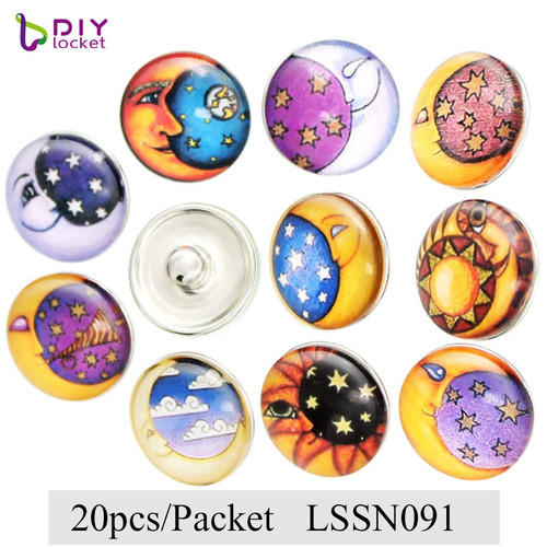 2 95USD/Packet(20pcs)Mix Styles 18mm Glass Snap Charms Fit 18-20mm Snap  Button Base Jewelry