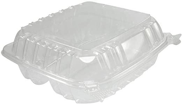 """C90PST3 Dart ClearSeal® Plastic Hinged Container 8"""" x 8"""" x 3"""" 3 Compartment"""