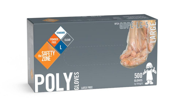 The Safety Zone ® Small Clear Powder Free Poly Gloves