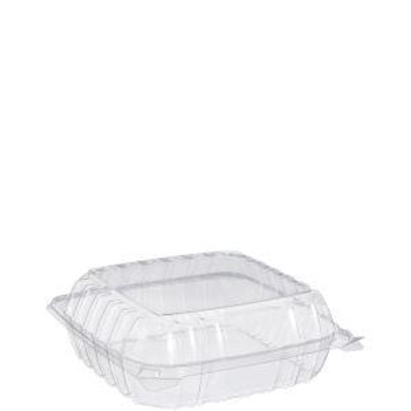 """C90PST1 Dart Clear Hinged Container 8"""" x 8"""" x 3"""""""