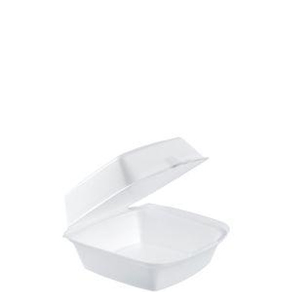 """60HT1 Dart White Foam Carry Out Container 6"""" x 6"""" x 3"""""""