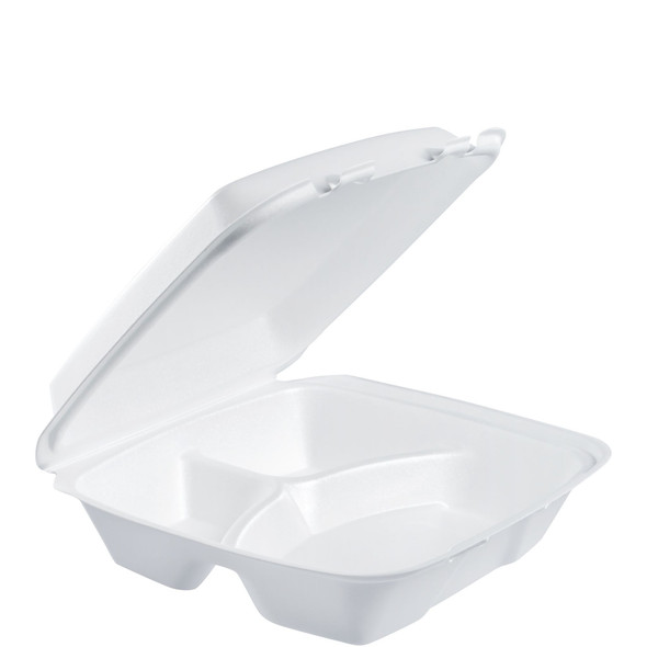 """90HT3R Dart Foam Carry Out Container 9"""" x 9"""" x 3"""" 3 Compartment"""